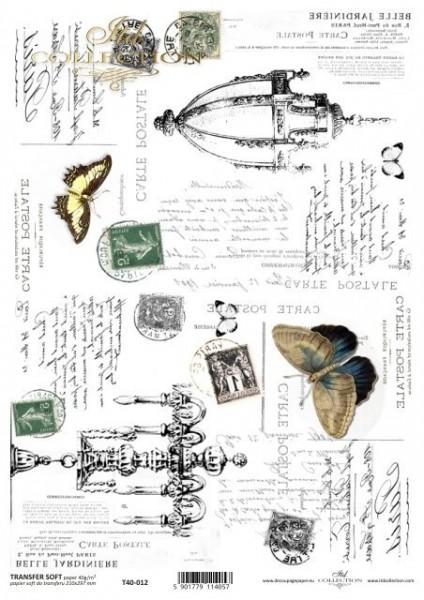 Transferpapier mit Spiegelschrift - Historische Lampen