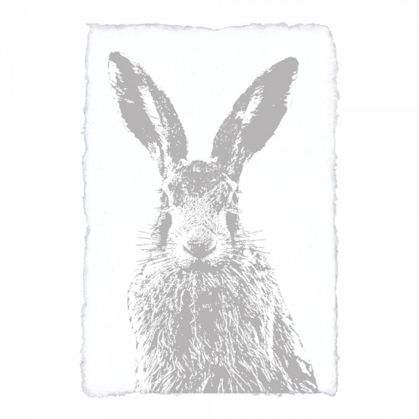 Handgeschöpftes Papier mit Kunstdruck Feldhase