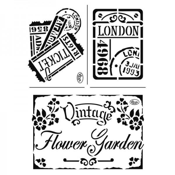 """Schablone """"Vintage Flower Garden"""" A4 von Viva Decor"""