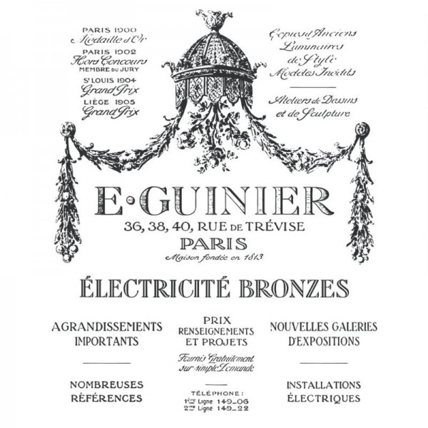 "Amatxi Transfer 002 ""Guinier retro ad - Guinier pub rétro"" 38 x 47 cm"