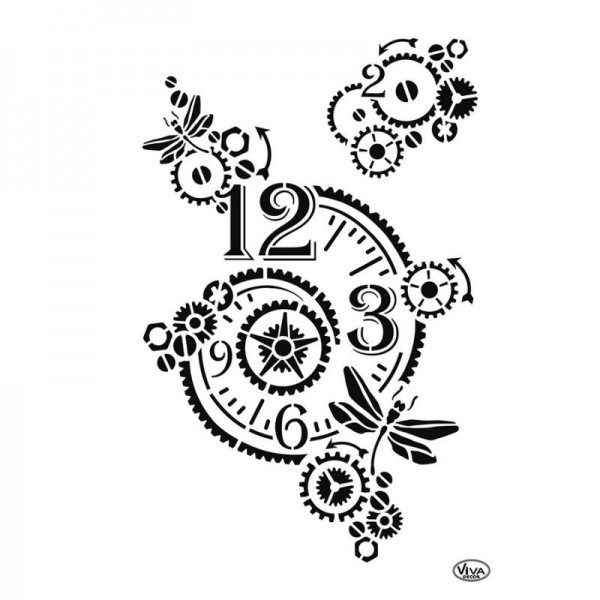 """Schablone """"Vintage Clock"""" A4 von Viva Decor"""