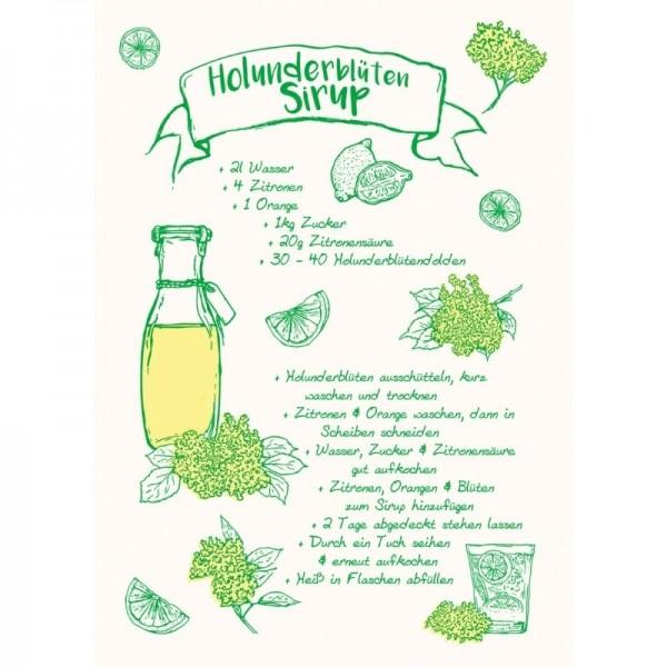 Postkarte mit Holunderblütensirup-Rezept