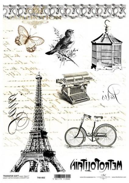 Transferpapier mit Spiegelschrift - Paris