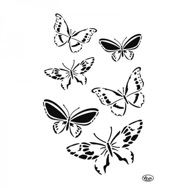 Schablone Schmetterlingsschwarm, A4 von Viva Decor