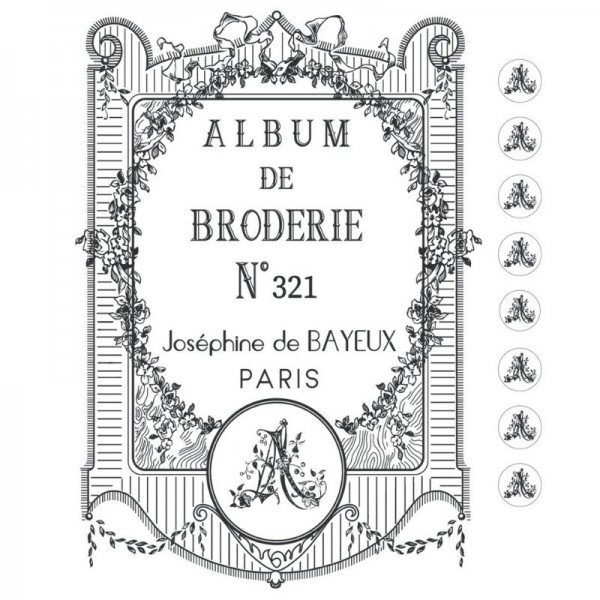 """Amatxi Transfer 004 """"Embroidery Album - Album de broderie"""" 33 x 47 cm"""
