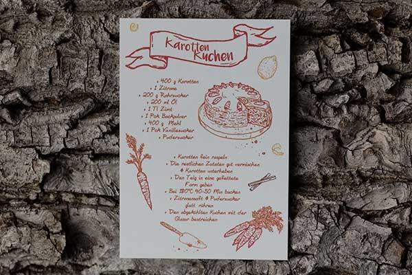 Postkarte mit Karottenkuchen-Rezept