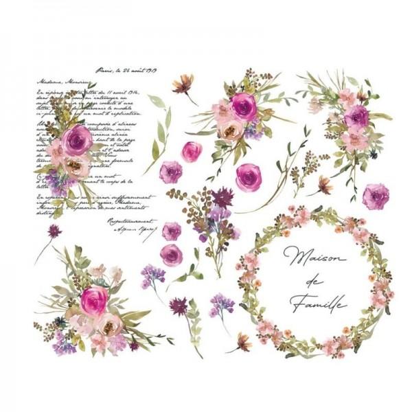 """Amatxi Transfer 017 """"Watercolor Flowers - Fleurs aquarelle"""" 38 x 47 cm"""