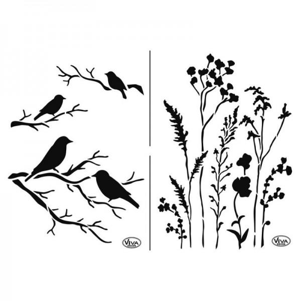 Schablone Gräser & Vögel, A4 von Viva Decor