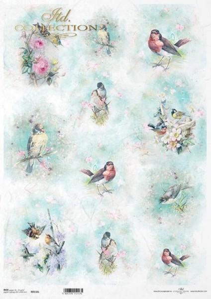 Reispapier für Decoupage - Vögel romantisch - A3