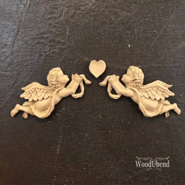 WoodUbend kleines Engel Set Ornamente 16 x 3 cm