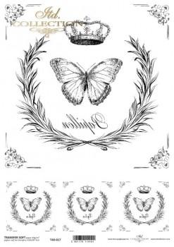 Transferpapier mit Spiegelschrift - Schmetterlinge