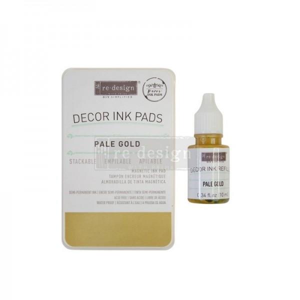 Stempelkissen Pale Gold, ungefüllt inkl 10 ml Tintenfläschen - Redesign-