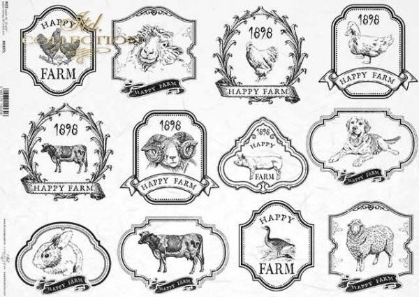 Reispapier für Decoupage - Farmtiere - A3