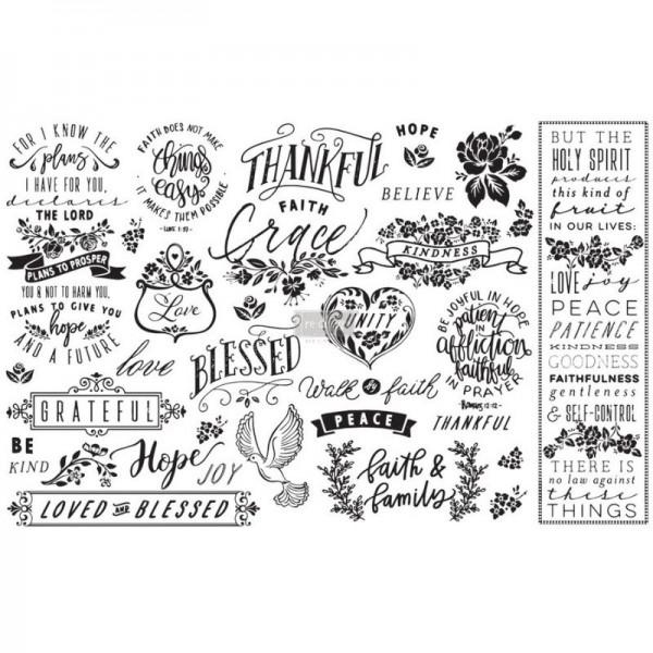 "Decoupage Tissue Papier ""Thankful & Blessed"" 48,26 x 76,20 cm"