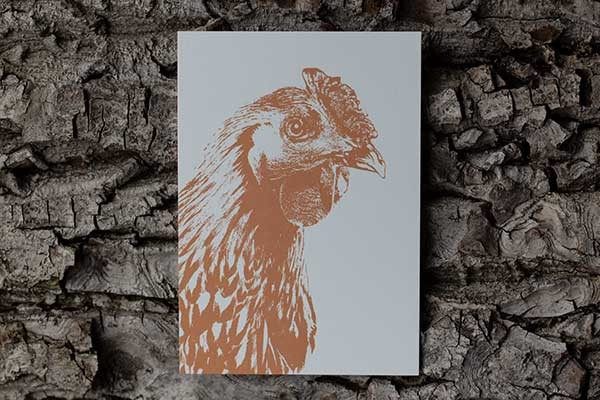 Postkarte mit Huhnmotiv