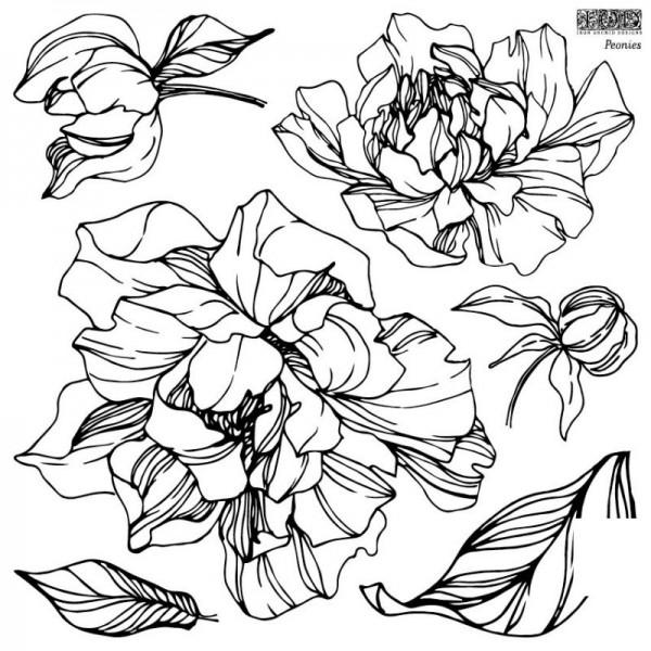 "Decor Stempel ""Peonies"" - 2 Bögen - Iron Orchid Designs (IOD)"