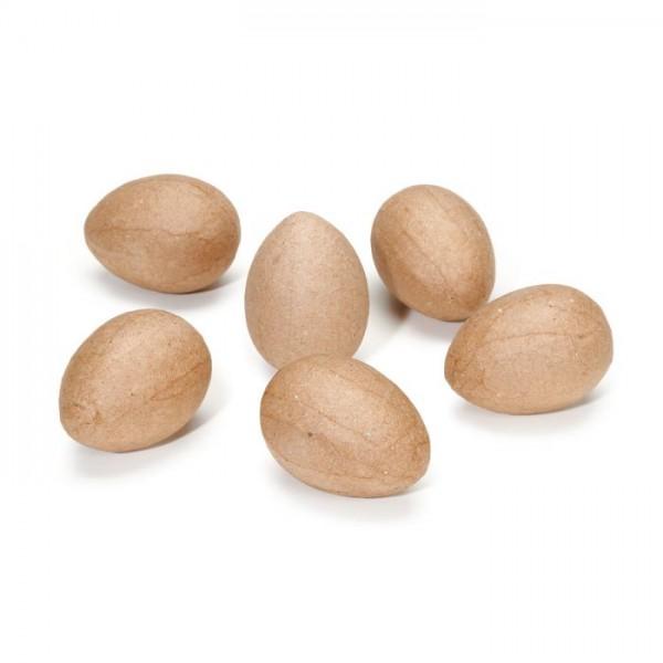 Pappmaché Eier, 6 Stck.