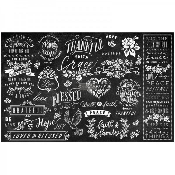 "Decoupage Tissue Papier ""Thankful & Blessed II"" 48,26 x 76,20 cm-C"