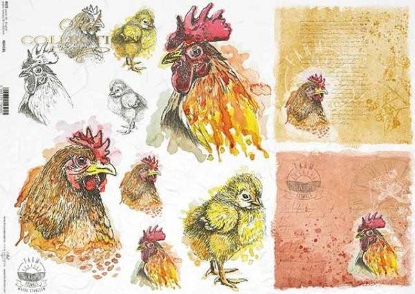 Reispapier für Decoupage - Hühner - A3