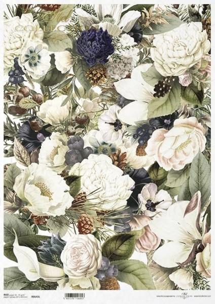 Reispapier für Decoupage - Weiße Blumen - A3