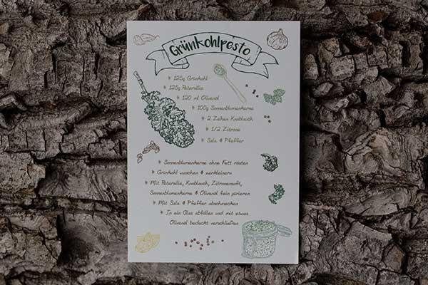 Postkarte mit Grünkohlpesto-Rezept