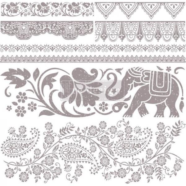 Stempel mit Elefant und Bordüren