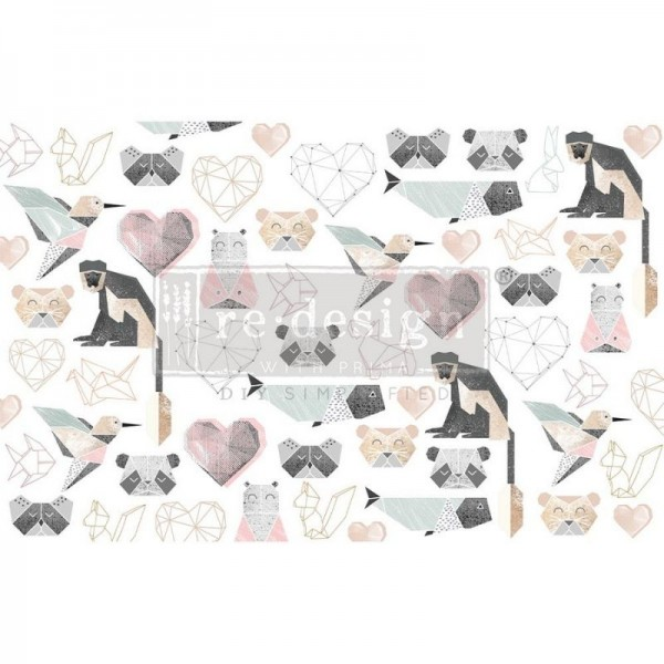 Decoupage Tissue Papier Origami Love 48,26 x 76,20 cm von ReDesign