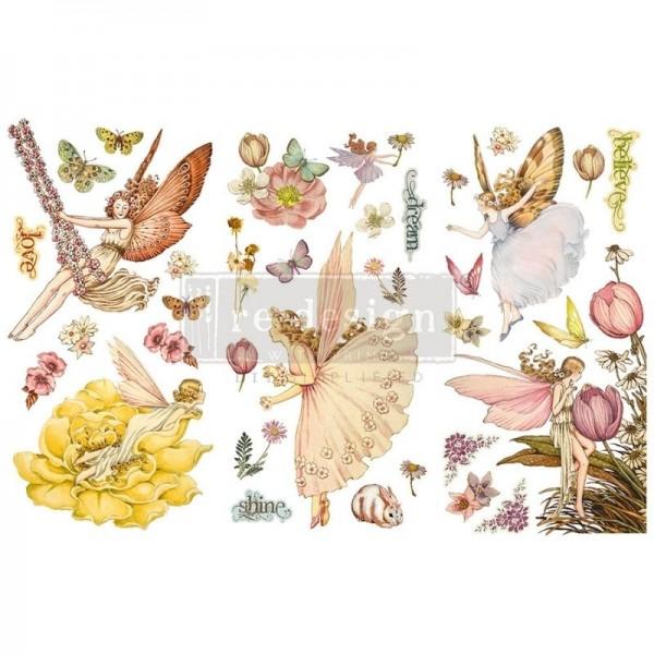 "Transfers ""Fairy Flowers"", 3-tlg. á 15,24 x 30,43 cm von ReDesign"