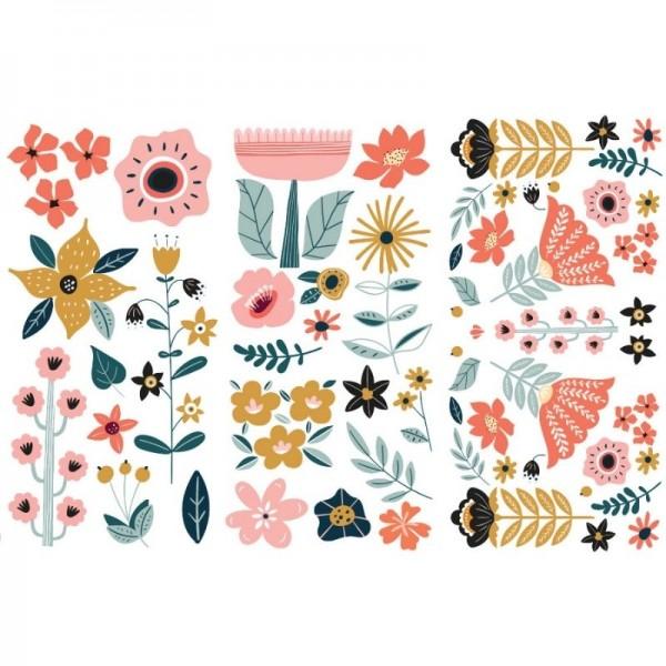 Transfers Doodle Flowers 3-tlg. á 15,24 x 30,43 cm von ReDesign