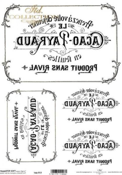Transferpapier mit Spiegelschrift - Etiketten
