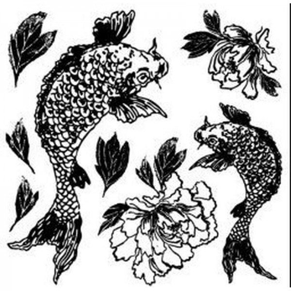 "Decor Stempel ""Koi and Peony"" - Iron Orchid Designs"