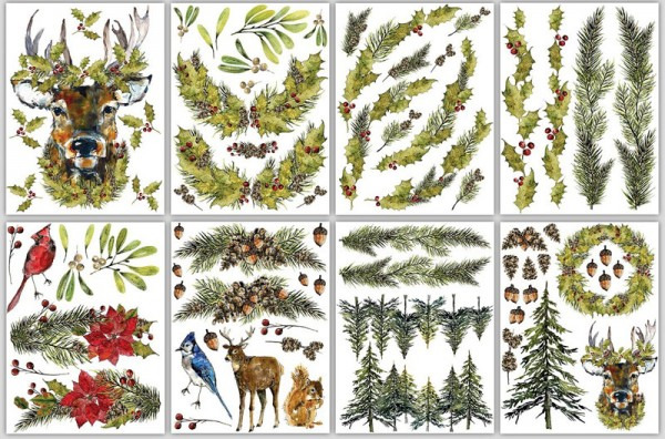 "Decor Transfer ""Woodland Christmas ""- Iron Orchid Designs (IOD)"