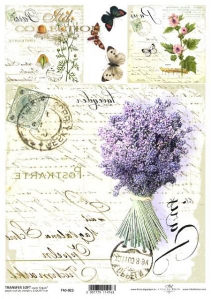 Transferpapier mit Spiegelschrift - Lavendel