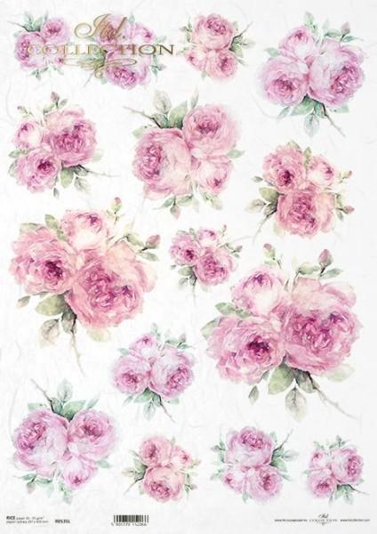 Reispapier für Decoupage - Rosa Rosen - A3