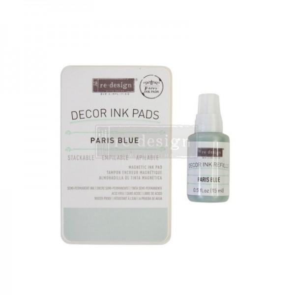 Stempelkissen Paris Blue, ungefüllt inkl 10 ml Tintenfläschen - Redesign