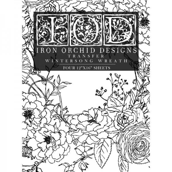 "Decor Transfer ""Winter's Song Wreath"" bemalbar- Block - Iron Orchid Designs (I"