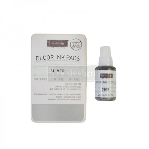 Stempelkissen Silver, ungefüllt inkl 10 ml Tintenfläschen - Redesign