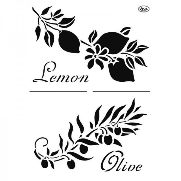 """Schablone """"Zitrone & Olive"""" A4 von Viva Decor"""